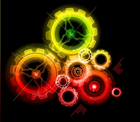 Glowing techno gears, colorful and detailed