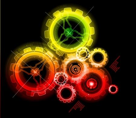 Glowing techno tandwielen, kleurrijke en gedetailleerde