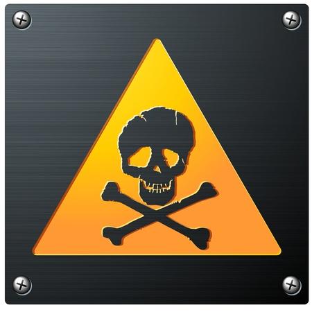 Metal Grunge Skull Sign detailed vector Vector