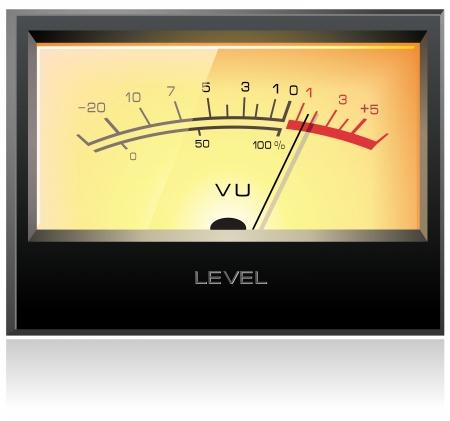 Analog electronic VU meter, detailed vector Illustration