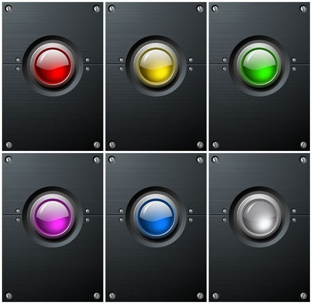 blue button: Detailed Big Push Button on Brushed Metal Plate Colorful Set  Stock Photo