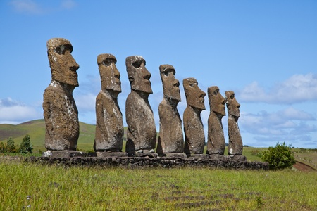 Landscape view of the Easter Island statues Stock Photo