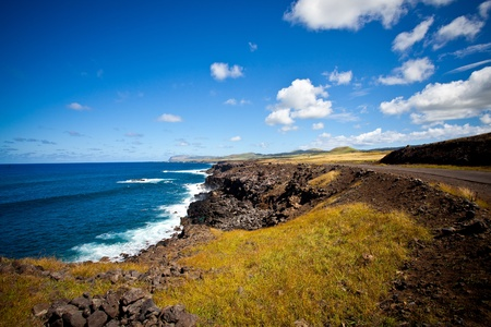 Easter Island Coastline, open space, white waves, deep blue skies