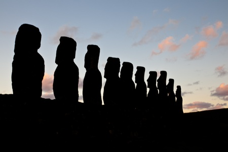 Landscape view of the Easter Island statues in the dusk Stock Photo