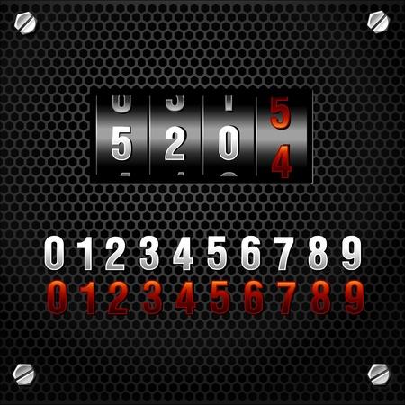 模擬計數器。向量。包括兩種顏色的數字。
