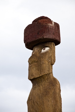 Easter Island statue in the blue sky photo