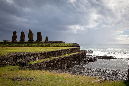 easter island: Easter Island statue in the blue sky