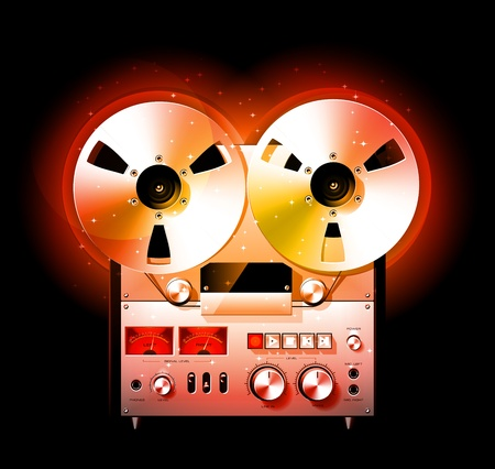 tape recorder: Glowing Reel To Reel Stereo Tape Deck Recorder, detailed vector Illustration