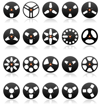 magnetic: Analog Stereo Tape Reels Icon set, detailed vector Illustration