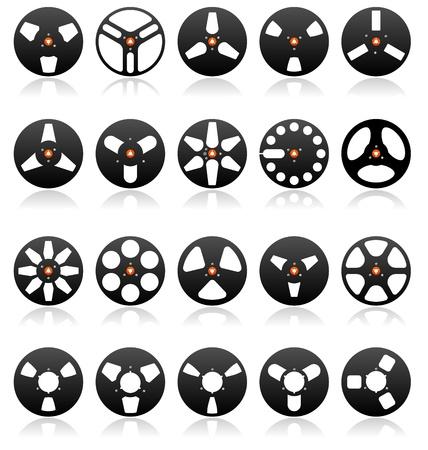 grabadora: Icono de carretes de cintas est�reo anal�gico conjunto, detall� vector Vectores