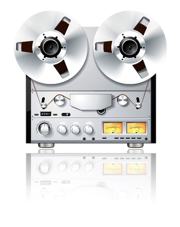 analog: Vintage Hi-Fi analog Stereo reel to reel tape deck player  recorder on white Stock Photo