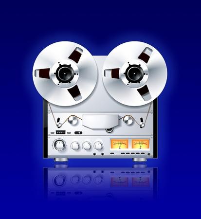 flauta dulce: Vintage Hi-Fi estéreo carrete a carrete cintas analógicas cubierta Reproductor  grabador