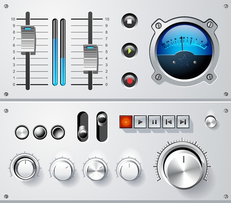 Analog controls interface elements set, including volume controls, VU meter, sliders, player controls, push buttons abd toggle switches.