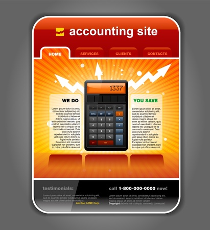 web template: Finance Accounting Internet Web Site Page Template detailed
