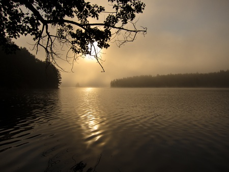Sunrise over Little Salmon Lake in Frontenac Provintial Park, Ontario, Canada Stock Photo - 10758609