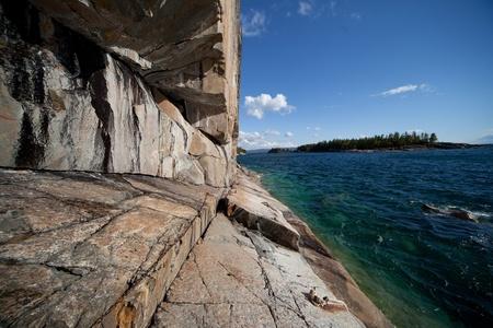 Lake Superior, Agawa Rock perspective 写真素材