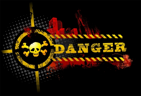 danger: Black Urban Grunge Danger Skull detailed vector