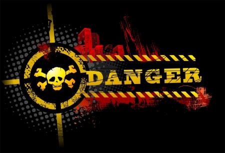 Zwarte Urban Grunge Danger Skull gedetailleerde vector
