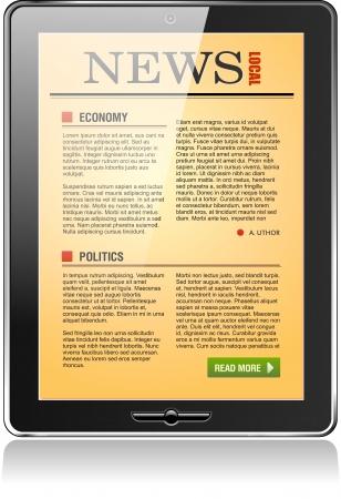 Touchpad computer of Tablet PC met kranten inhoud, vector. Stock Illustratie
