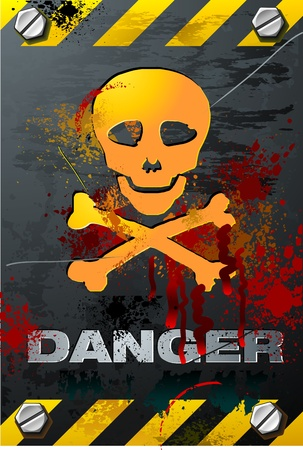 danger: Bloody Grunge Skull on Brushed metal Plate detailed vector