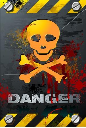 warning: Cr�neo con sangre en el vector de Grunge placa de metal cepillado detallada Vectores