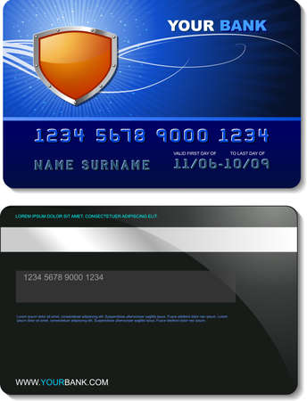 Credit Card Template detailed vector with orange shield Vector
