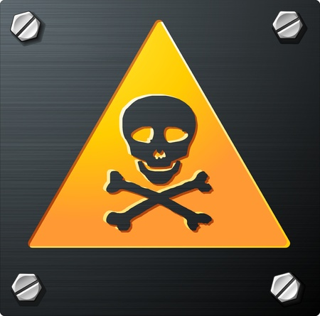 Brushed Metal Grunge Skull Sign with bolts, detailed vector Stock Vector - 11084381