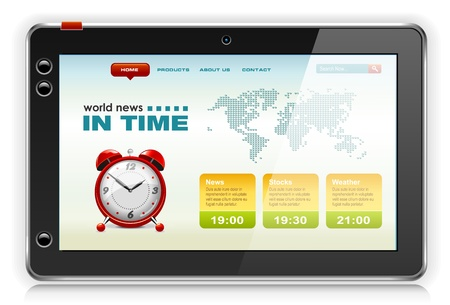 touchpad: Touchpad Computer or Tablet PC with news content, vector.
