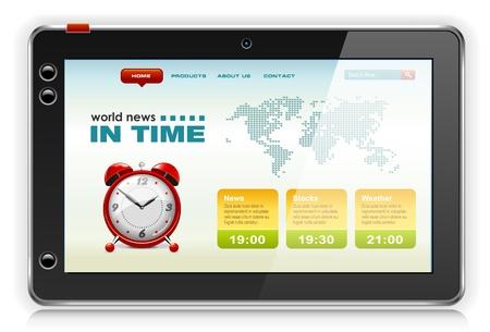 display type: Touchpad PC o Tablet PC con contenido de noticias, vector.