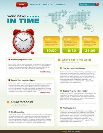 Nieuws gerelateerde webpagina infographics sjabloon, gedetailleerde vector