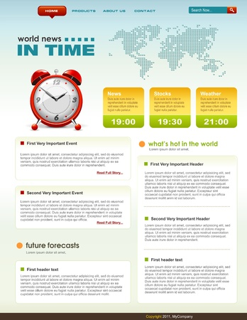 News related web page infographics template, detailed vector