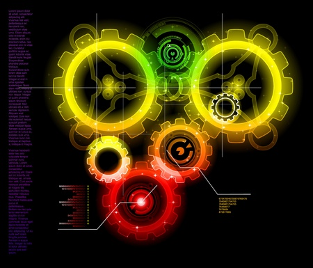 Glowing Techno Gears bright  Vector