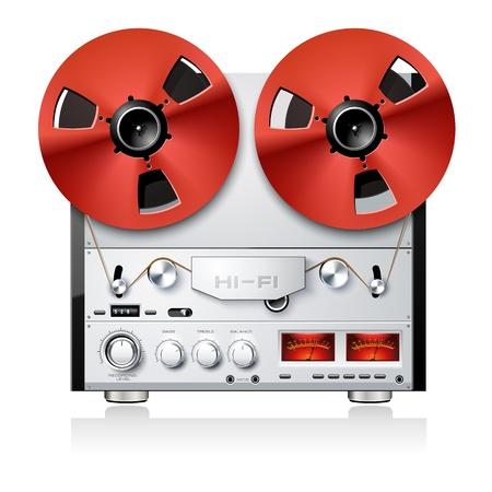 magnetofon: Vintage Hi-Fi kołowrotek analogowe stereo na rolce pokładu magnetofon gracza Ilustracja