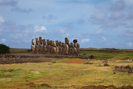 Easter Island Statues under blue sky photo