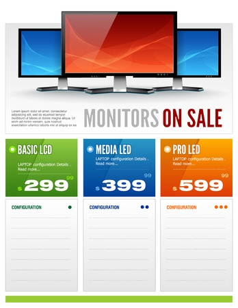 electronic book: Flat LCD Monitor Display Sale Brochure vector Illustration