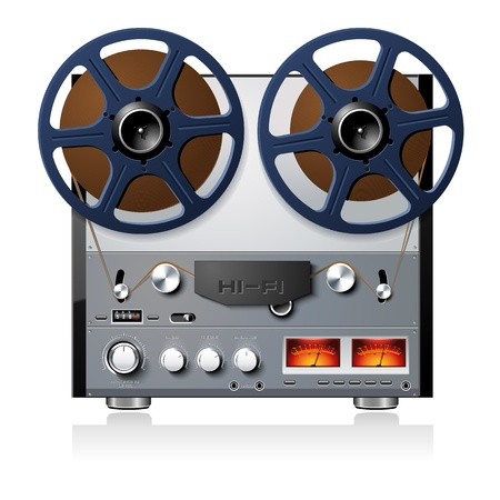 music machine: Vintage Hi-Fi analog stereo reel to reel tape deck player recorder vector