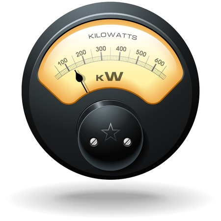 kilowatt: Analog Electrical Meter, realistic detailed vector Illustration