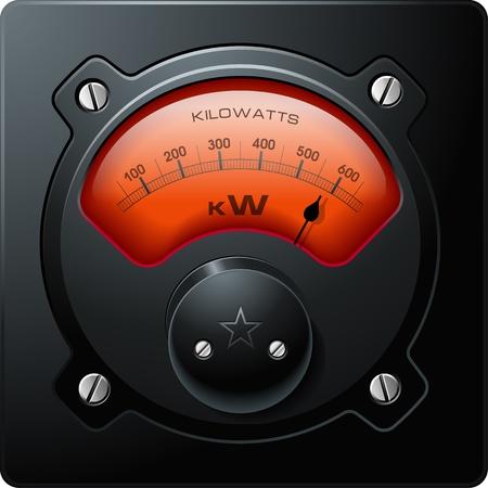 kracht: Analoge Elektrische Meter Rood, realistische gedetailleerde vector