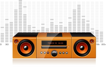 boombox: Orange boombox with signal spectrum, detailed vector Illustration