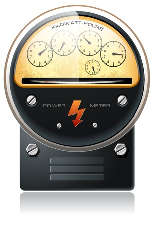 kilowatt: Electricity hydro power counter detailed vector