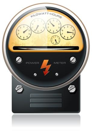 contador electrico: La electricidad de energía hidráulica detallada de vectores contra