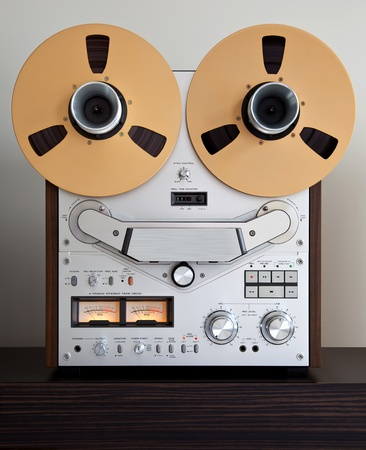 Analog Stereo Open Reel Tape Deck Recorder with large reels 写真素材