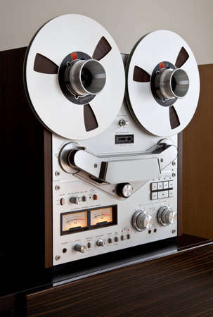 hub: Analog Stereo Open Reel Tape Deck Recorder with large reels Stock Photo