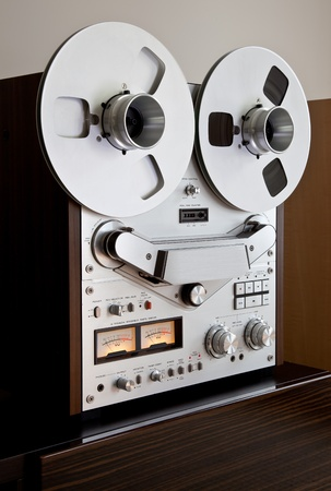 equipment: Analog Stereo Open Reel Tape Deck Recorder with large reels Stock Photo