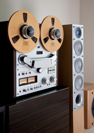 Analog Stereo Open Reel Tape Deck Recorder with large reels Stock Photo