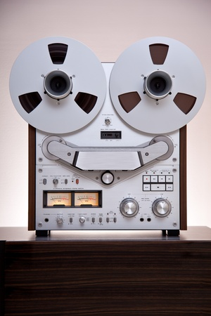 Analog Stereo Open Reel Tape Deck Recorderwith large reels 写真素材