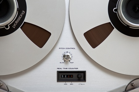 Close up of Analog Stereo Open Reel Tape Deck Recorder controls photo