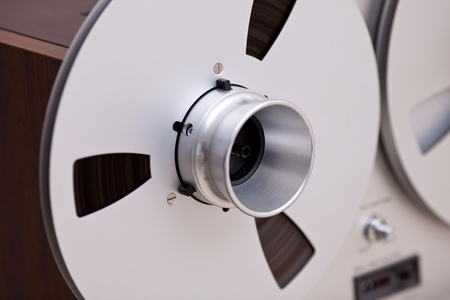 adapters: Open Metal Reels WithTape For Professional Sound Recording with NAB adapters Stock Photo