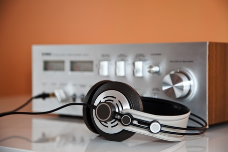 Stereo Vintage Amplifier with headphones photo