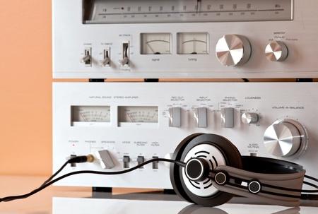 Vintage Stereo Amplifier with Headphones Banco de Imagens